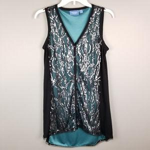 Vera Wang SimplyVera Sequin Long Tunic Top M